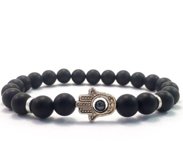 Matte onyx hamsa bracelet