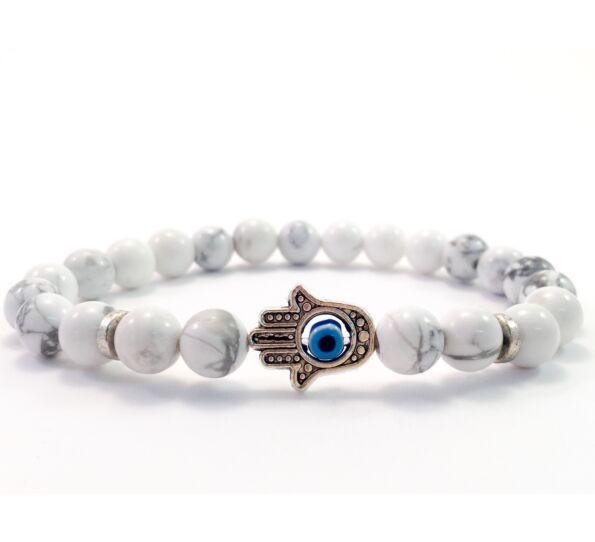Howlite hamsa bracelet