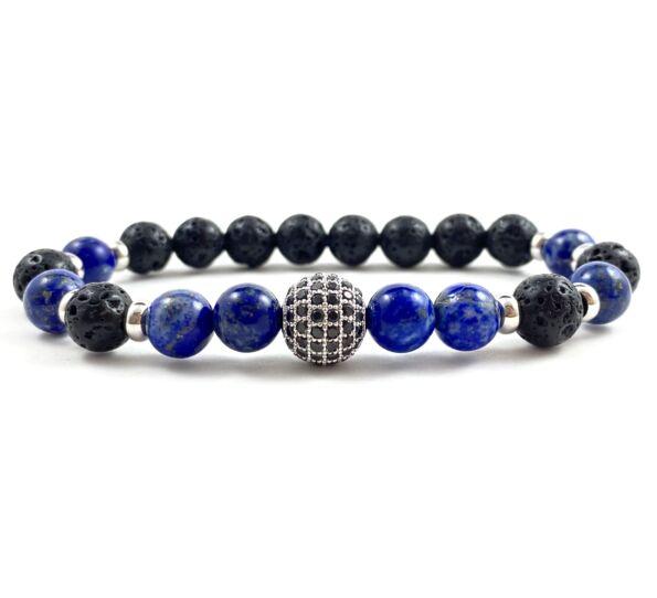 Matte onyx and lazuli luxury bracelet
