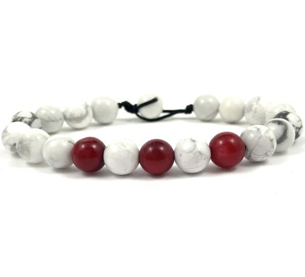 Howlite and corall beach bracelet