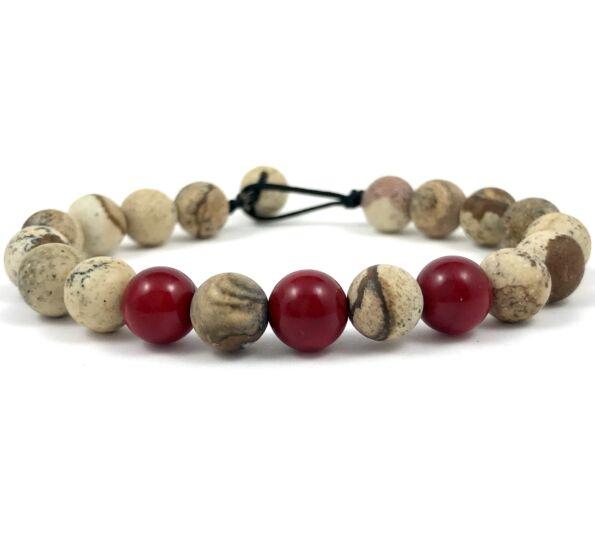 Jasper and corall beach bracelet