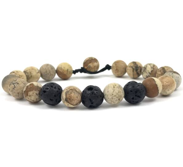 Jasper and lava beach bracelet