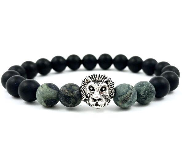 Matte onyx and kambaba jasper silver lion bracelet