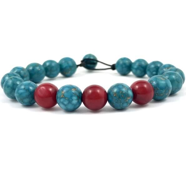 Turquoise and corall beach bracelet