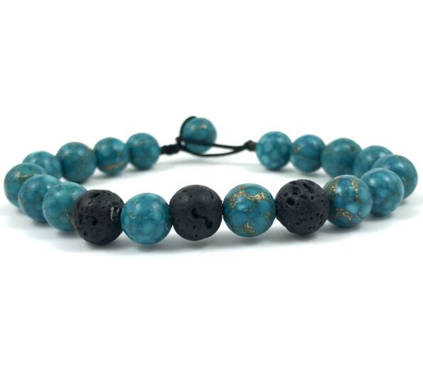 Turquoise and lava beach bracelet