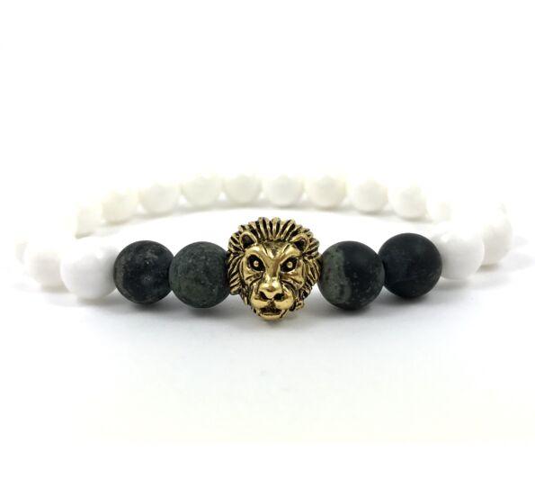 Nacre and kambaba jasper gold lion bracelet