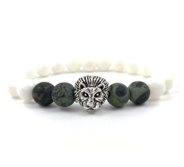 Nacre and kambaba jasper silver lion bracelet