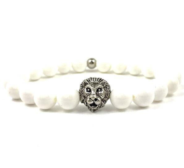Nacre silver lion bracelet