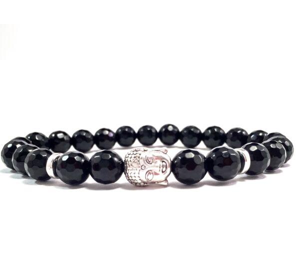 Facetted onyx buddha bracelet