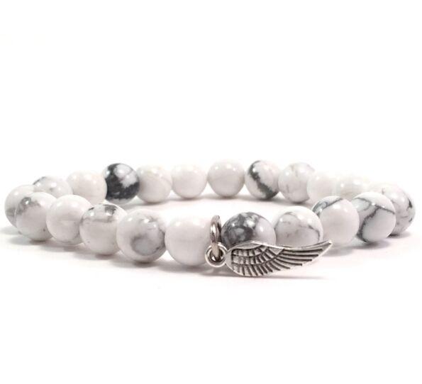 Howlite bracelet with angel pendant