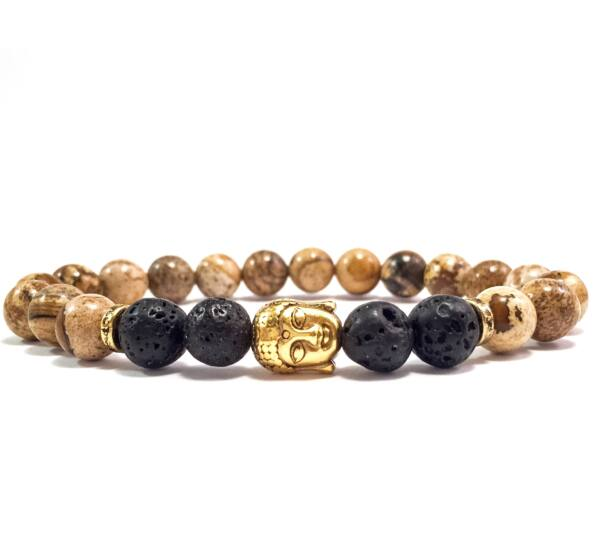 Jaspis and lava gold buddha bracelet