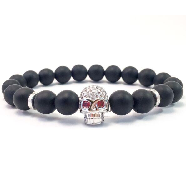 Matte onyx swarovski silver skull Beaded Bracelet