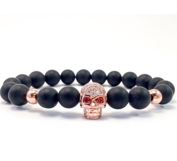Matte onyx swarovski rose gold skull beaded bracelet