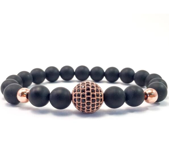 Matte onyx rose gold zircon ball beaded bracelet