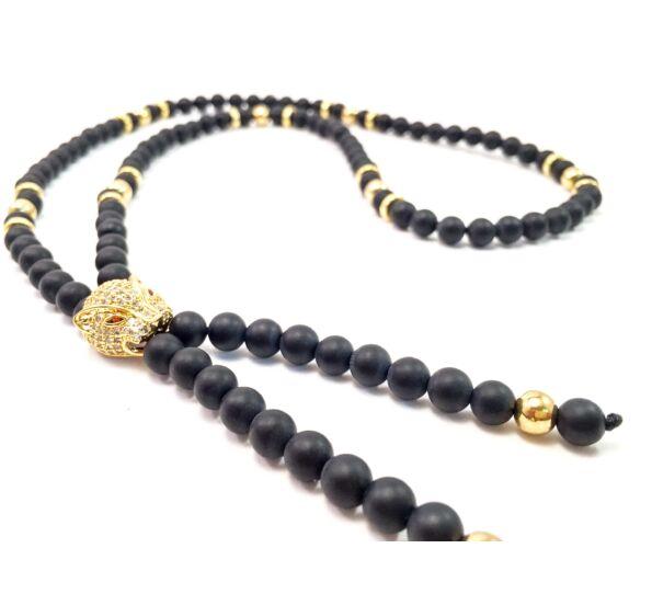 Luxury ónix lánc arany swarovski leopárdal