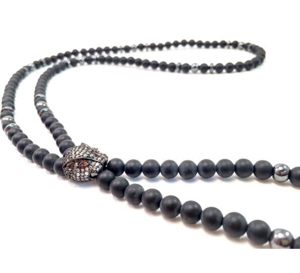 Luxury onyx necklace with titan swarovski leopard
