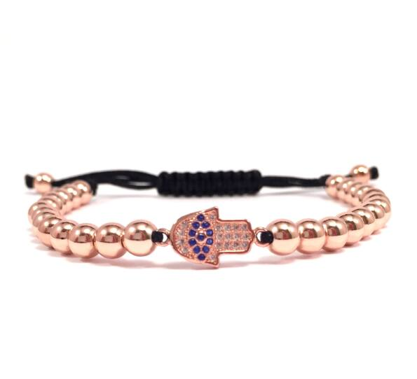 Luxury rose gold hamsa cord bracelet