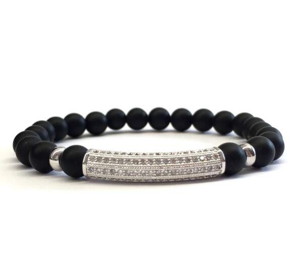 Matte onyx silver tube bracelet