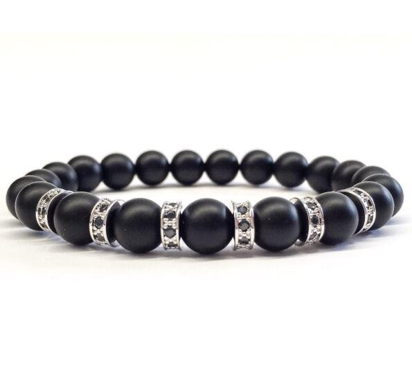 Matte onyx silver rondel bracelet