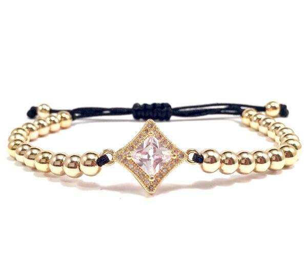 Luxury gold stony cord bracelet