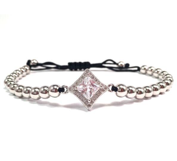 Luxury silver stony cord bracelet