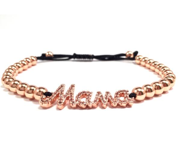 Luxury rose mama inscriptive cord bracelet