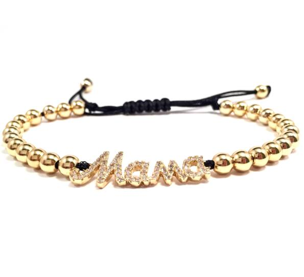 Luxury gold mama inscriptive cord bracelet