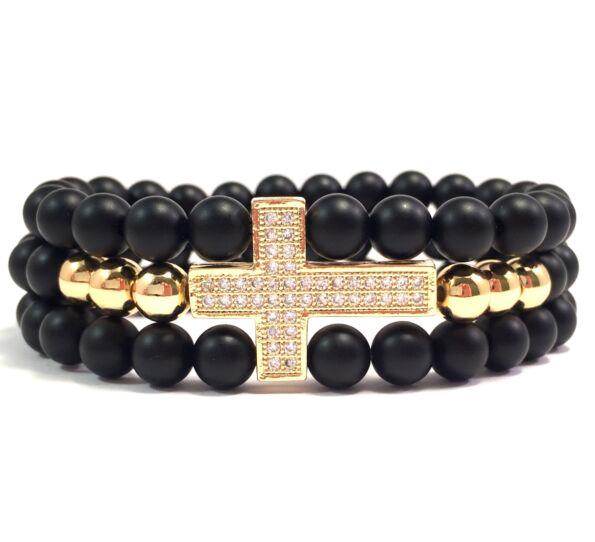 Matte onyx three-line gold cross bracelet