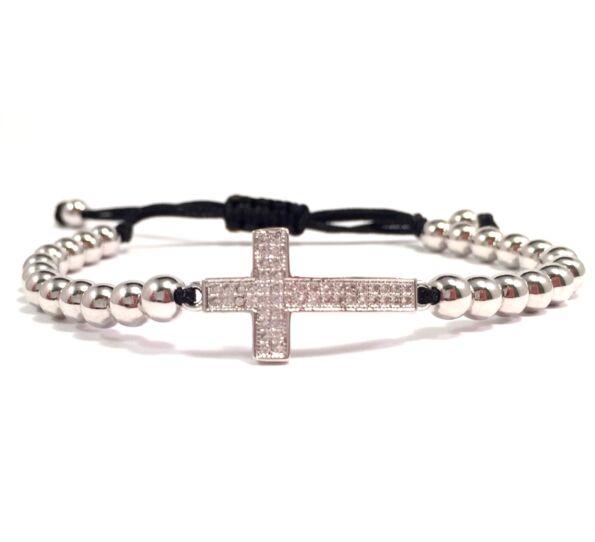 Luxury ezüst kereszt cord karkötő