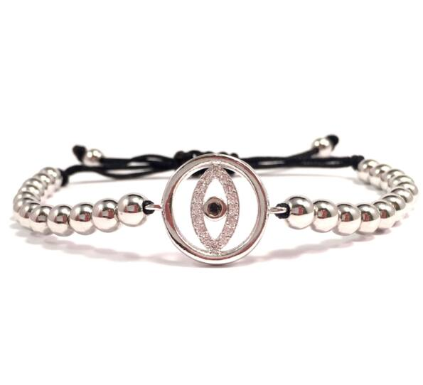 Luxury silver eye cord bracelet 2