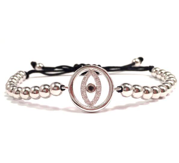 Luxury ezüst szem cord karkötő 2