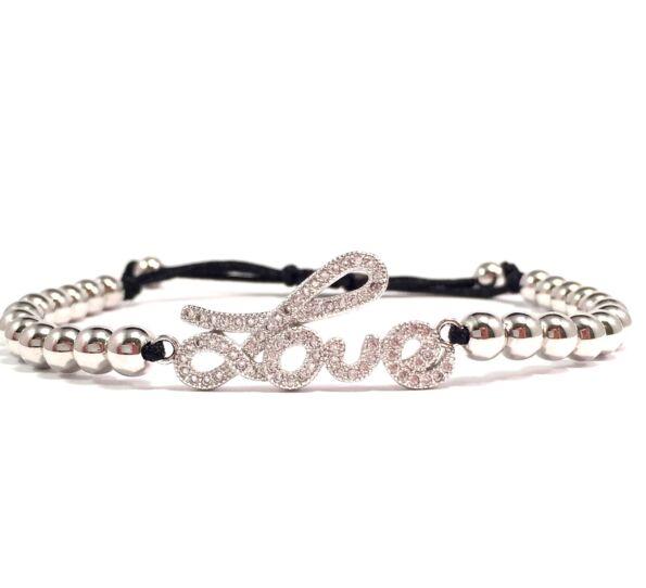 Luxury ezüst love feliratos cord karkötő