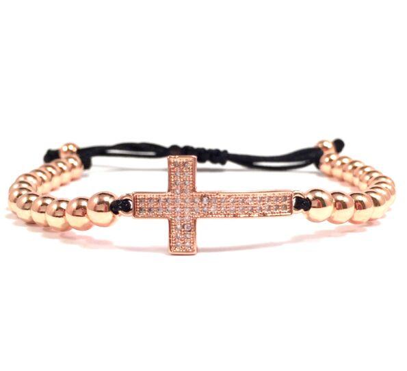 Luxury rozé keresztes cord karkötő