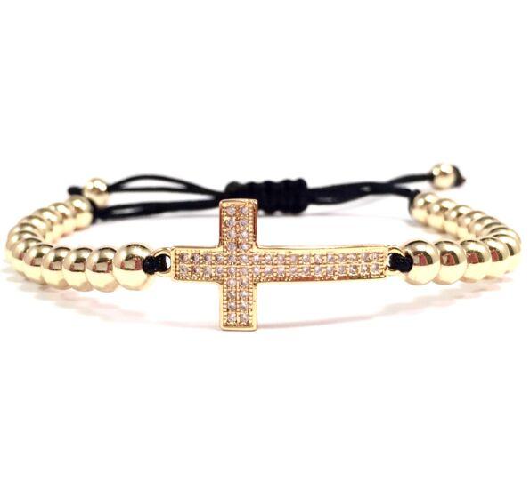 Luxury arany keresztes cord karkötő