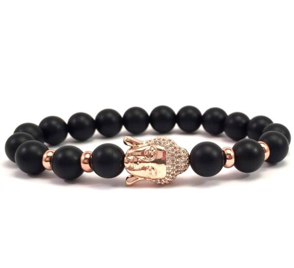 Matte onyx rosegold buddha bracelet