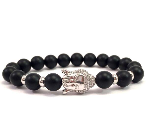 Matte onyx silver buddha bracelet