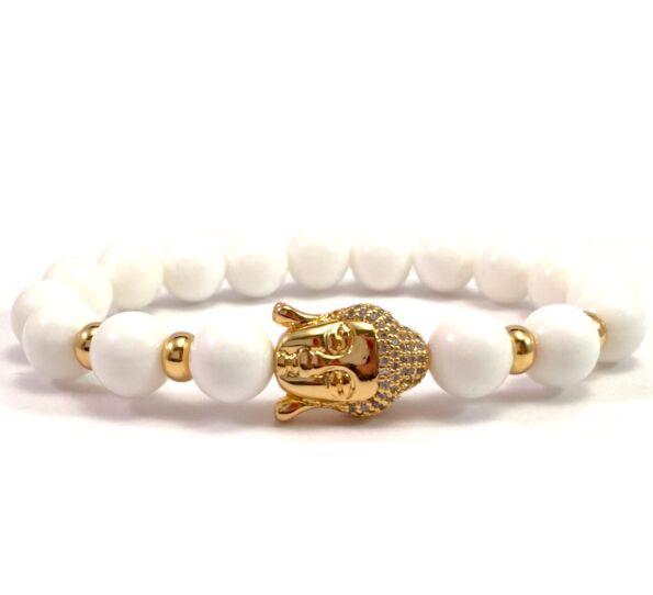 Milk quarcz gold buddha bracelet