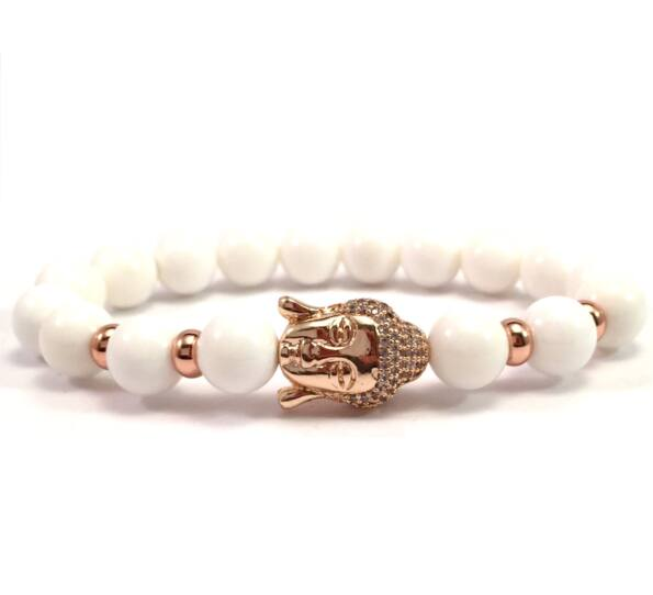 Milk quarcz rosegold buddha bracelet