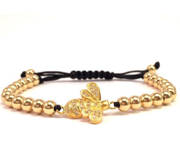 Luxury gold bee cord bracelet