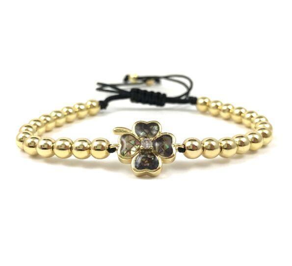 Luxury gold clover cord bracelet