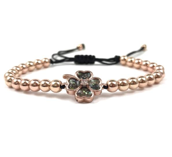 Luxury rosegold clover cord bracelet