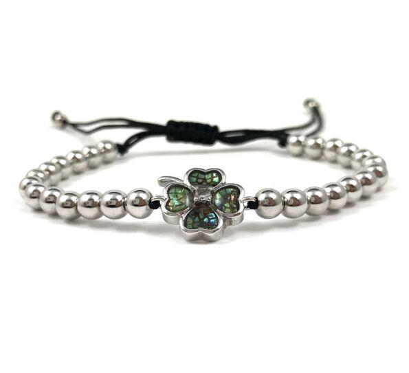 Luxury silver clover cord bracelet