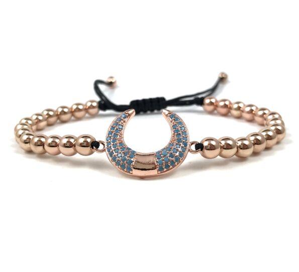 Luxury rosegold half moon cord bracelet