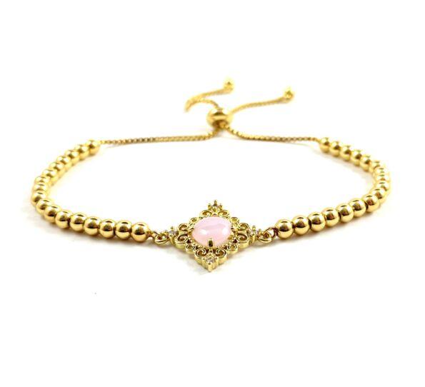 Luxury arany rózsaszín köves acél karkötő