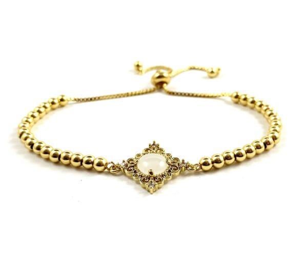 Luxury arany fehér köves acél karkötő