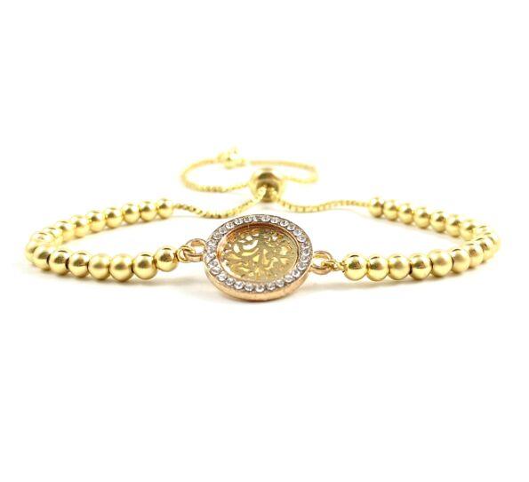 Luxury arany köves kör acél karkötő