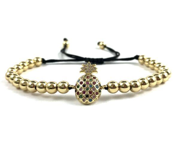 Luxury gold pineapple cord bracelet
