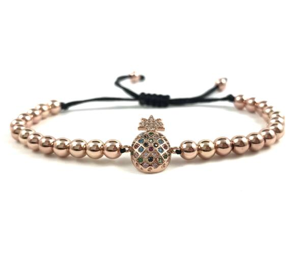 Luxury rosegold pineapple cord bracelet
