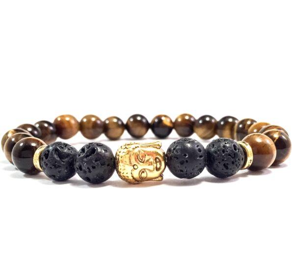 Tiger's eye and lava gold buddha bracelet